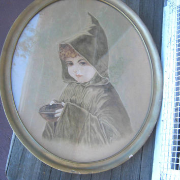 Unusual, Mysterious Portrait of Young Witch, Wiccan Apprentice, or... Antique Picture of Girl with Hood & Bowl - Framed, Oval Portrait