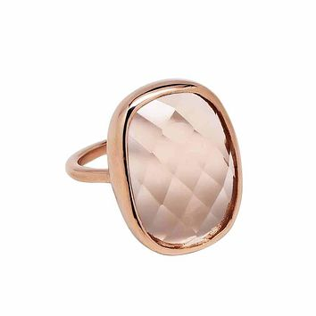 Large Oval Rose Gold Bezel Ring