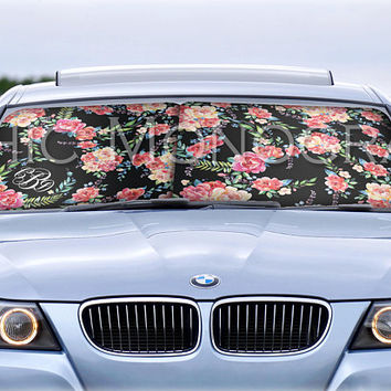 Custom Car Sun Shade Classy Black Floral Monogrammed Sunshades Personalized Windshield Sun Shades For Car Floral Car Accessories for Women