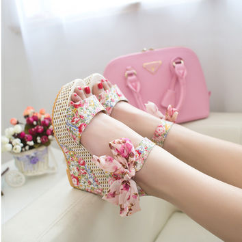 New sweet flowers buckle open toe wedge sandals Floral high-heeled shoes WS002
