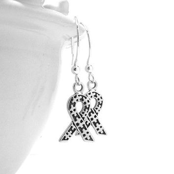 Earrings, Autism Awareness Ribbon in Sterling Silver