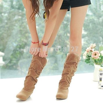 winter style round toe flat flock fashion knee-high heel boots women casual botas femiinas suede snow boots fro women AWB715B