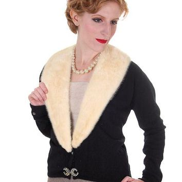 Vintage Ladies Black Cashmere Sweater w/Cream Mink Collar 1950s Med-Lg