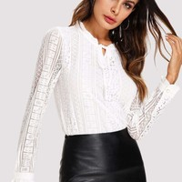 Tie Neck Lace Shirt