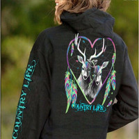 Country Life Feather Deer Dream Heart Black Pullover Shirt Hoodie