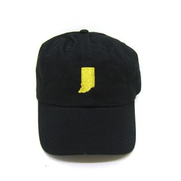 Indiana Hat - Classic Dad Hat - Gold and Black - All States Available