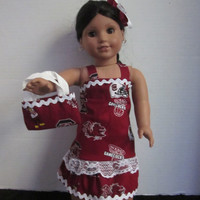 American Girl 18 Inch Doll South Carolina Gamecocks Dress With Purse And Hairbow By Sweetpeas Bows & More