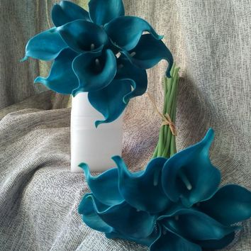 10 Stems Teal Calla Lilies Bouquet Flowers Real Touch Teal Blue Calla Lily Latex Wedding Flowers Centerpieces Arrangement  Decor