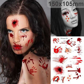 Halloween Zombie Scars Tattoos With Fake Scab Bloody Costume Makeup Halloween Decoration Terror Wound Scary Blood Injury Sticker