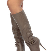 Taupe Faux Leather Knee High Platform Boots