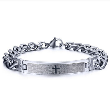 2016 NEW PUNK Men Bible Cross Charm Bangle Silver Bar Stainless Steel Bracelets Link Cuff wristband Hot