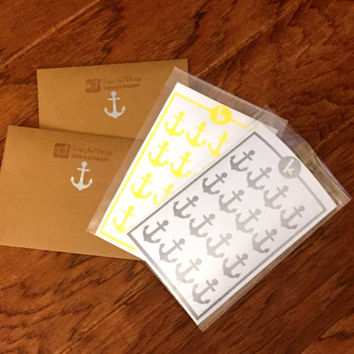 16 Anchor Stickers - Envelope Seals - Wedding Invitations and Favors - Scrapbooking - Wall safe vinyl decal - DIY - Removable Stickers