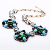 Emeral & Crystal Stone Necklace - Multi Color