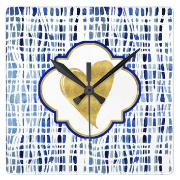 Chic Blue Tye Dye Stripes Gold Heart Square Wall Clock