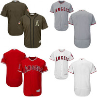 Red white grey green Blank Authentic Jersey , Men's Los Angeles Angels of Anaheim Flexbase Collection Jersey