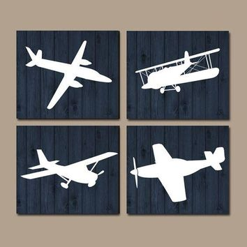 AIRPLANES Wall Art, CANVAS or Prints, Baby Boy Nursery Decor, Theme PLANES, Aviation Decor, Navy Wood Effect, Set of 4, Big Boy Bedroom