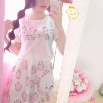 Japanese Style Delicious Cute Fruit Egg Strawberry Printed Lolita Kawaii Skirts Girt Sweet School Clothes