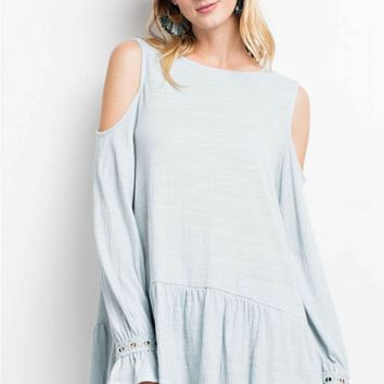 Cold Shoulder Ruffled Knit Tunic