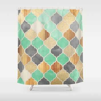 Charcoal, Mint, Wood & Gold Moroccan Pattern Shower Curtain by Micklyn