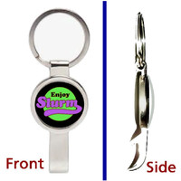 Futurama Enjoy Slurm Secret Pendant or Keychain silver tone secret bottle opener