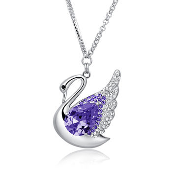 Swan Queen Swarovski Elements Crystal Long Chain Necklace - Purple