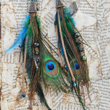 Copper, Peacock Feather, Freshwater Pearls, and Suede Boho Chic Long Feather Earrings with Bronze Chain Accents by Adrienne Adelle