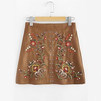 Sweet Floral Suede Skirt