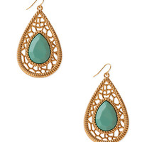 FOREVER 21 Heirloom Teardrop Earrings Turquoise/Gold One