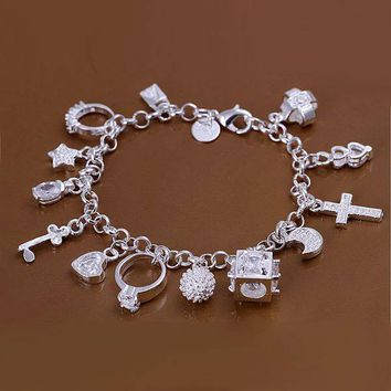 Silver Bracelet with 13 Charms