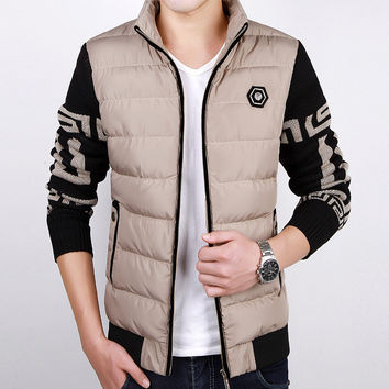Men Winter Cotton Plus Size Korean Slim Fashion Men's Fashion Padded Jacket [7912533187]