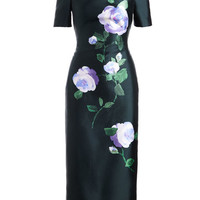 Lela Rose Floral Off-Shoulder Dress