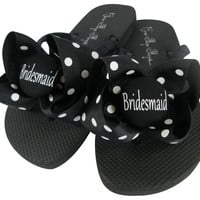 Polka Dot Bridesmaid Bow Flip Flops - choose from many colors for Bridesmaid Gift