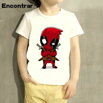 Boys/Girl Deadpool Superhero Funny Cartoon Design T Shirt Kids Great Casual Short Sleeve Tops Children Cute T-Shirt,HKP2237