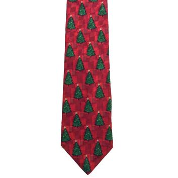 Hallmark Holiday Traditions Foulard Wide Silk Christmas Tie - Red