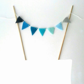 Ombre Blue Cake Bunting - Felt Cake Bunting - Cake Banner - Ombre Blue Cake Garland - Aqua Mint Teal Navy Ombre Cake Topper - Whale Shower