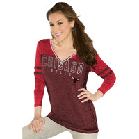 Touch by Alyssa Milano Chicago Bulls Womens Gridiron V-Neck Burnout Long Sleeve T-Shirt - Red