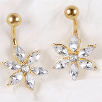 2016 Flower 18K Gold Plated Navel Ring Percing Nombril Belly Piercing Belly Rings Body Jewelry Piercings Belly Button Rings