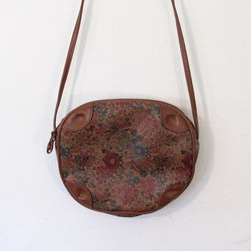 Vintage 1990s Monique Purse / Floral Print & Brown Vinyl Small Crossbody Bag
