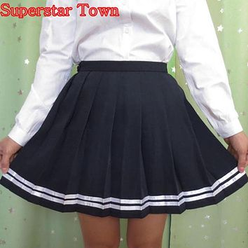 High Waist Pleated Skirts Women Japanese Striped Skirt School Gril Student Uniform Skirts Harajuku Summer Saias Lolita Clothes