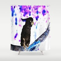 Ink Spots of the Black Feathered Cockatoo Shower Curtain by Distortion Art