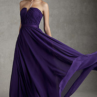 Strapless Long Purple Prom Gown by Mori Lee