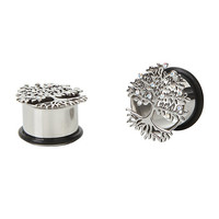 Steel Tree Of Life Cutout Eyelet Plug 2 Pack
