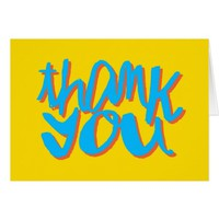 Yellow and Blue Thank You Typography Card