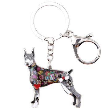Doberman Dog Keychain - Silver Plated