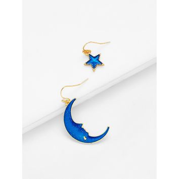 Star & Moon Design Drop Earrings