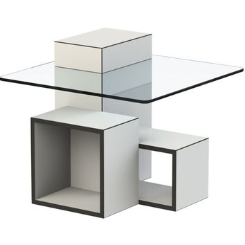 Gutta Side Table Pure White, Black, And Smoked Glass Top