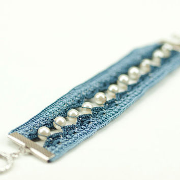Denim Blue Crochet Lace Bracelet - Pearls - Boho Style - Fiber Art Jewelry – Lightweight - Wide Bracelet