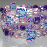 Girls Pink and Purple Butterfly Wrap Braclet