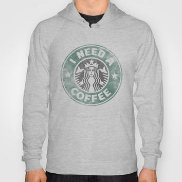 STARBUCKS - I need a coffee! (v2) Hoody by John Medbury (LAZY J Studios)