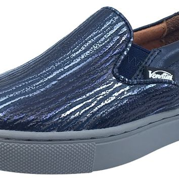 Venettini Girl's and Boy's Navy and Metallic Blue Skylar Slip-On Sneaker